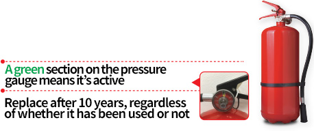 A green section on the pressure gauge means it's active / Replace after 10 years, regardless of whether it has been used or not